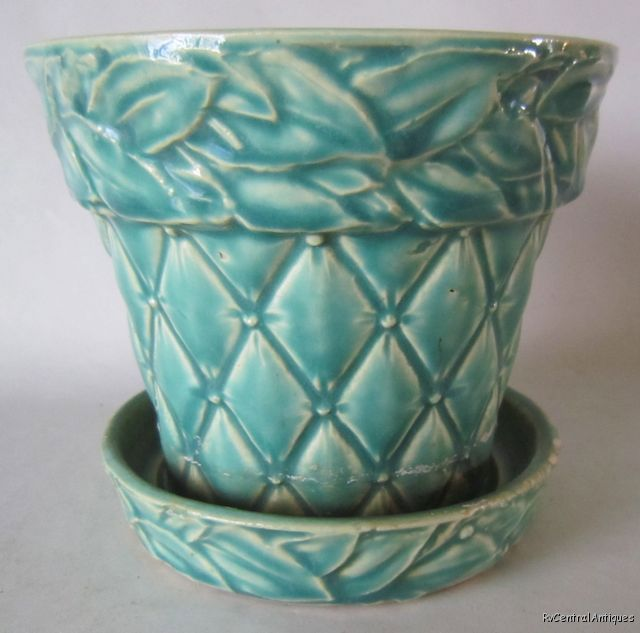 "Vintage 1950 McCOY Pottery AQUA QUILTED FLOWERPOT w/UP 4 1/2"" x5"""