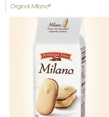 ...another thing I have to not buy often for fear of eating the entire package at once:    Pepperidge Farm MILANO Cookies - the very best is ORANGE MILANO  (source:  www.pepperidgefarm.com)