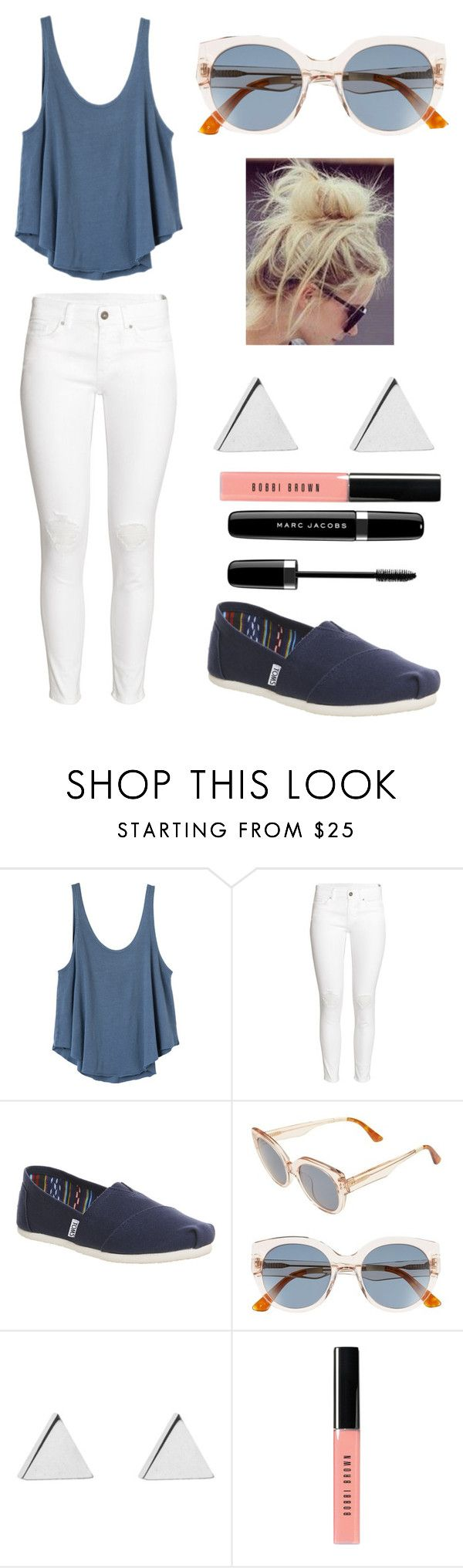 """Day Out"" by phoridavies ❤ liked on Polyvore featuring RVCA, H&M, TOMS, Jennifer Meyer Jewelry, Bobbi Brown Cosmetics, Marc Jacobs, Blue, toms and Phori"