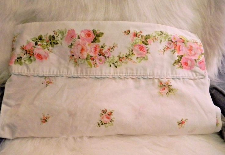 Vintage Sears Roebuck Percale Twin Size Flat Sheet Floral