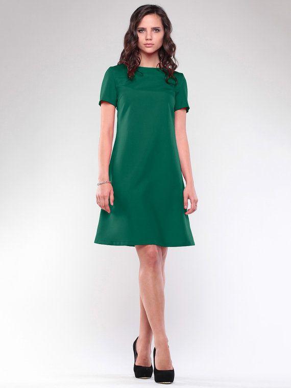 Retro dress  Green dress  Dress short sleeve  by Annaclothing