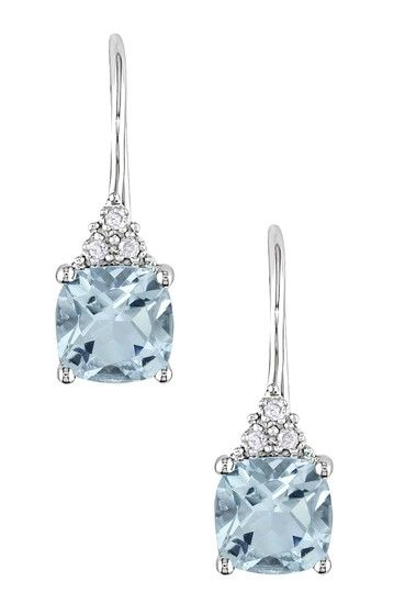 10K White Gold Diamond & Blue Topaz Round Drop Earrings by Color of the Month on @HauteLook