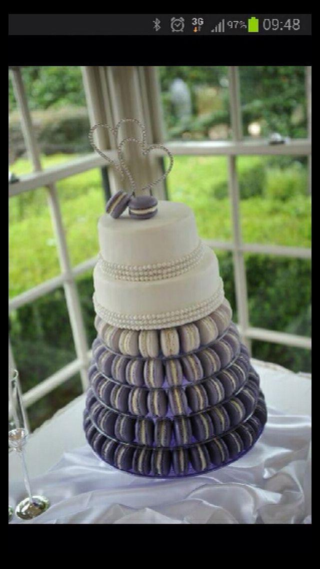 you could make it any color you wanted! Purple and white macaroon cake