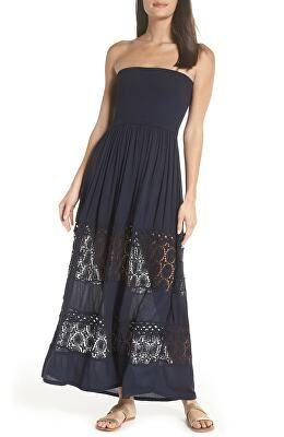 77f3b4be5014 CHELSEA28 Designer Farrah Smocked Cover-Up Maxi Dress | Avivey ...