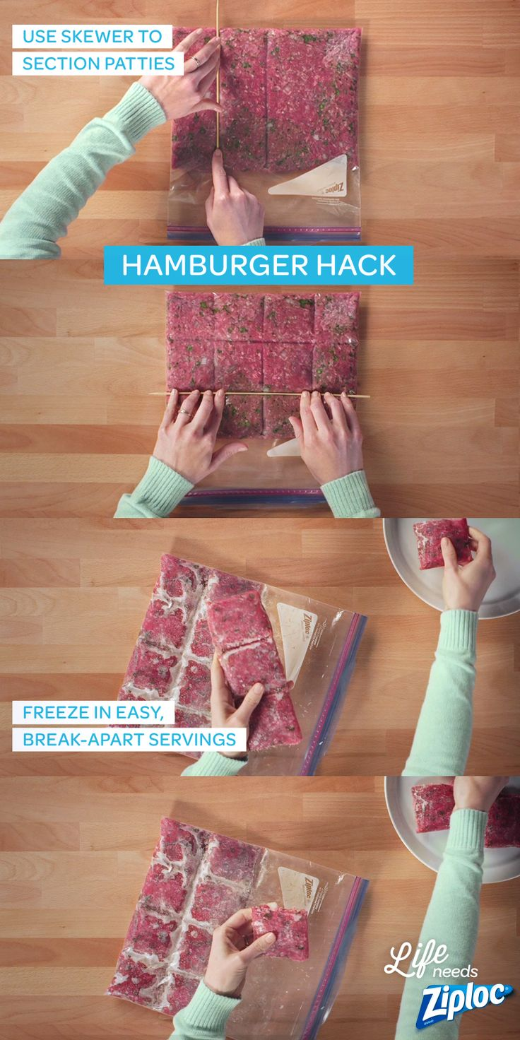 Two awesome tricks in one easy lifehack. First, mix up gourmet hamburger patties, right in a Ziploc® bag (no messy hands). Then, section the patties and store them in your freezer. When you're ready to grill, break off the exact amount you need and save the rest! No more wasting food or defrosting too much meat. Great trick to remember for summer barbecues!
