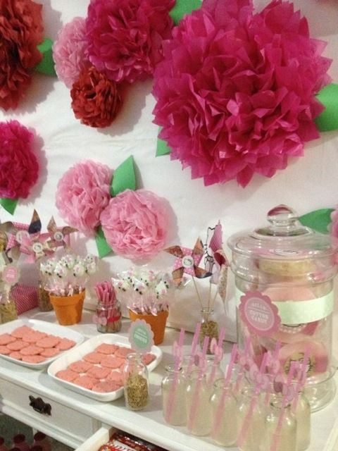 seriously cutest ever. Hello Kitty themed party--but mostly, I love the tissue paper decorations on the wall, I might put one in my bedroom! Adorable!!!