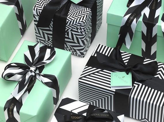 Mint green, black, white gift wrap