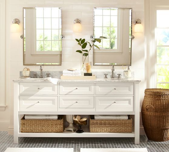 Kensington Pivot Mirror RectangleBrass Finish Double VanityDouble SinksPottery Barn BathroomPottery