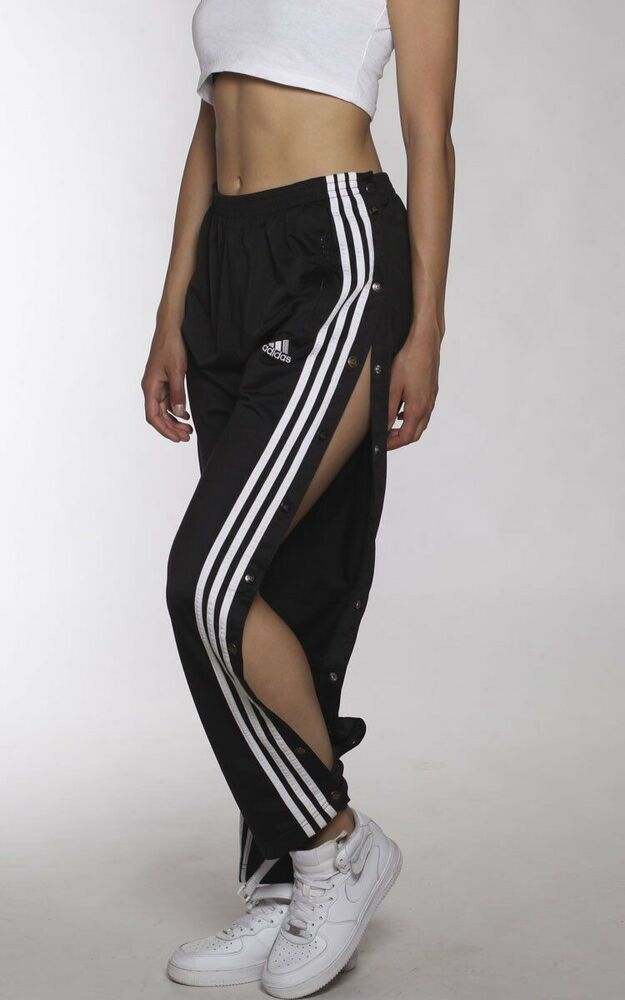 4fc4d8f1725ba Ad)eBay - Womens Adidas Track Pants Jogger Black With Button Poppers ...