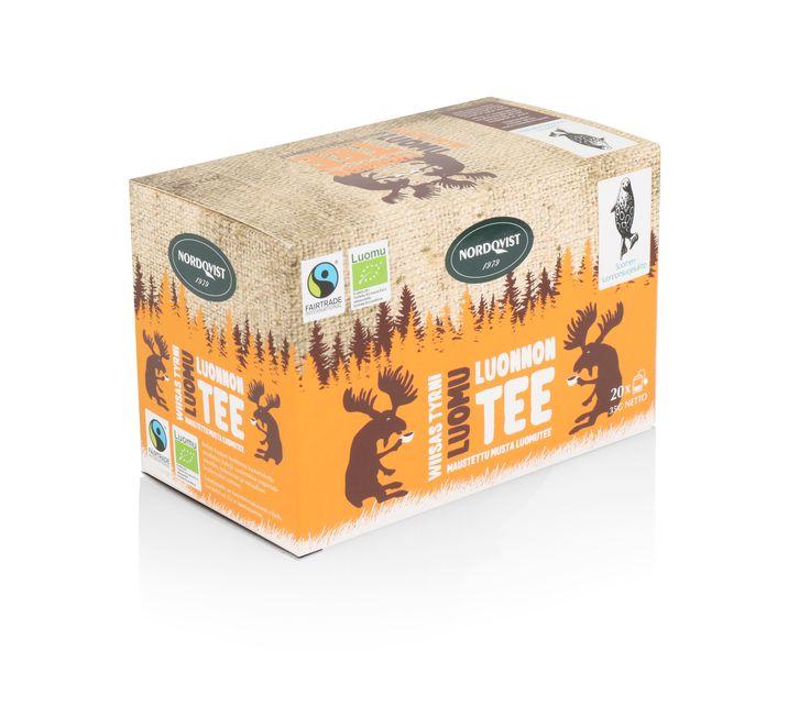 NEW Nordqvist organic tea box. Organic black tea and buckthorn flavour.