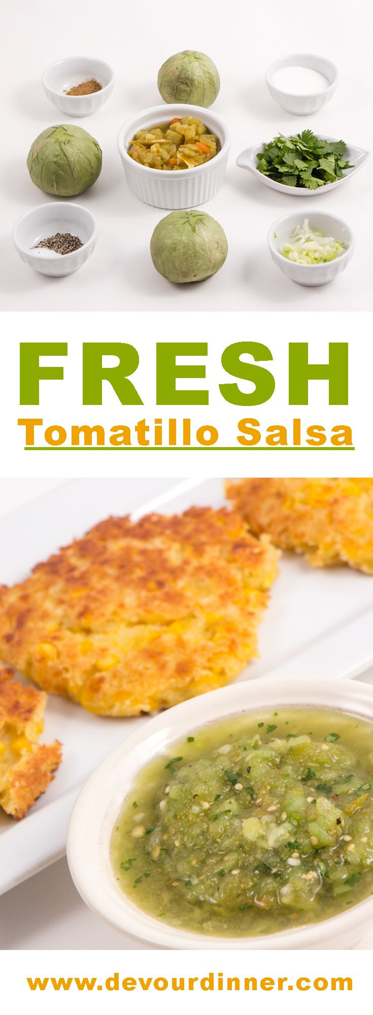 Tomatillo Salsa - Devour Dinner.  Sweet and packed full of flavor is Tomatillo Salsa.  This salsa is perfect on any Mexican Recipe but especially delicious on Sweet Corn Cakes.  Easy recipe will having you coming back for more!
