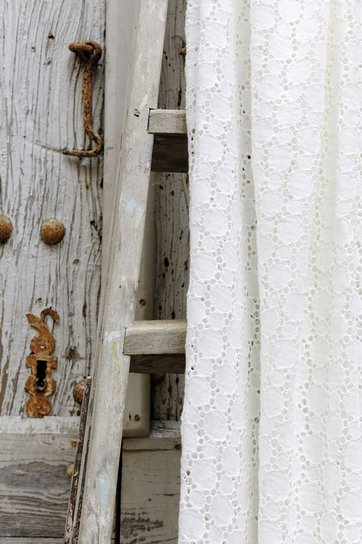 Dolcezza fabric. An embroidered stonewashed linen in wide widths for curtains. www.elitis.fr/... #linen, #elitis, #white, #natural, #embroidery