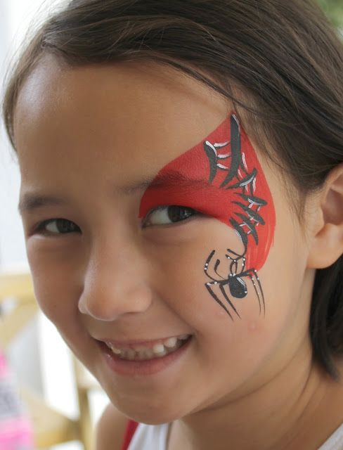 Quick Spiderman eye design. Face painting by Vanessa Tsumura for Color Wheel Face Painting