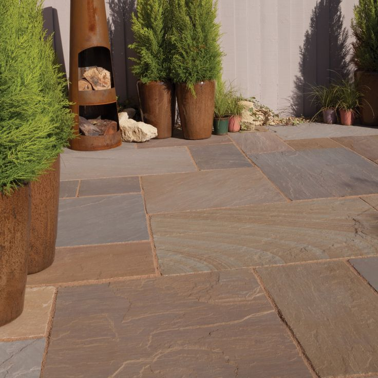 Rustic Buff Natural Sandstone Mixed Size Paving Pack (L)4905mm (W)3980mm, 19.52 m² | Departments | DIY at B&Q