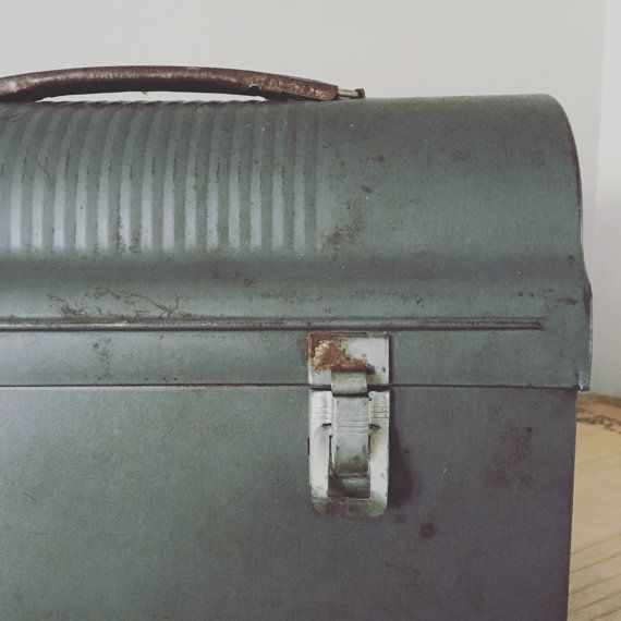 Vintage Dome Metal Lunch Box,Lunch Box,Vintage Lunch Box, Metal Lunch Box , 1940's, Retro Lunch Boxes,Miners Lunch Boxes,Industrial