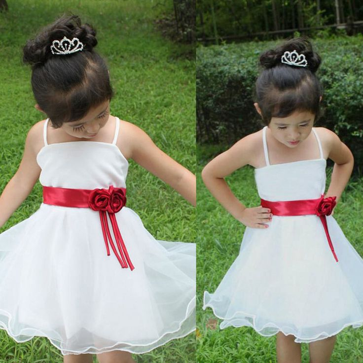 Ас картина трапециевидный завязки цветы до колена белый платья девочки дети свадьба красивый цветок девочка платья