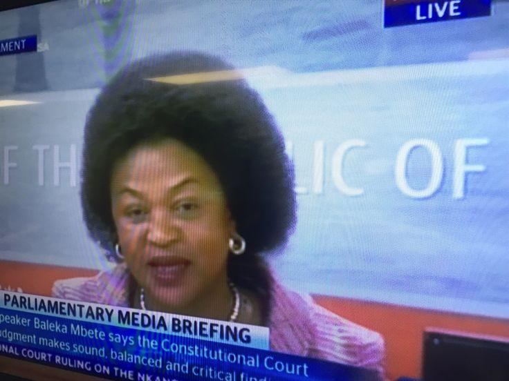 Baleka Mbete, speaker van die parlement, op Sondag se nuuskonferensie.