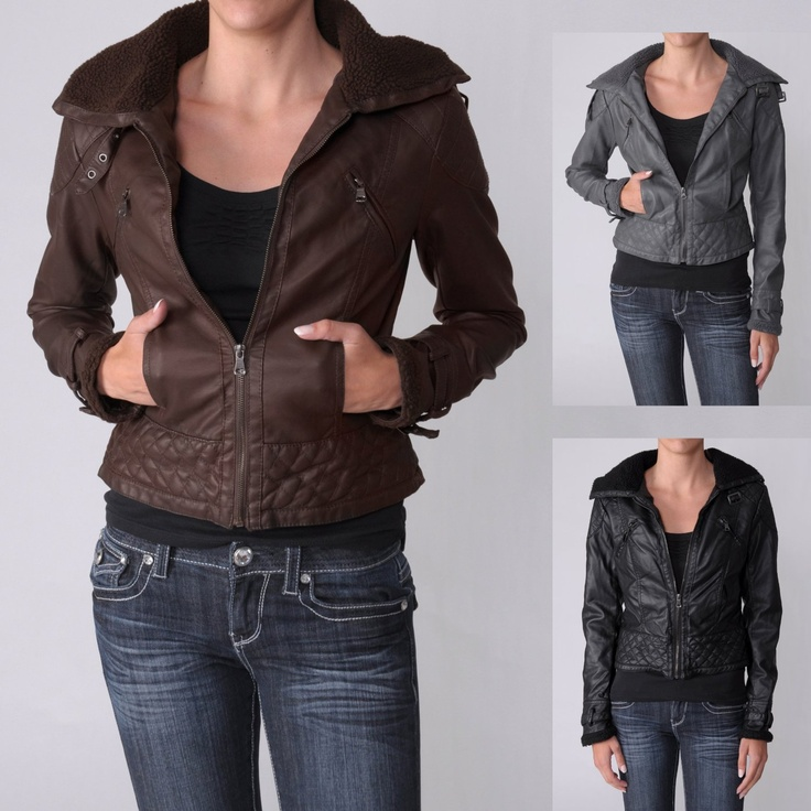 Faux Leather Wool Collar Jacket - $49.99