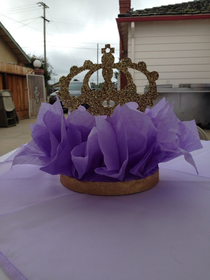 Purple gold crown centerpieces my party crafts