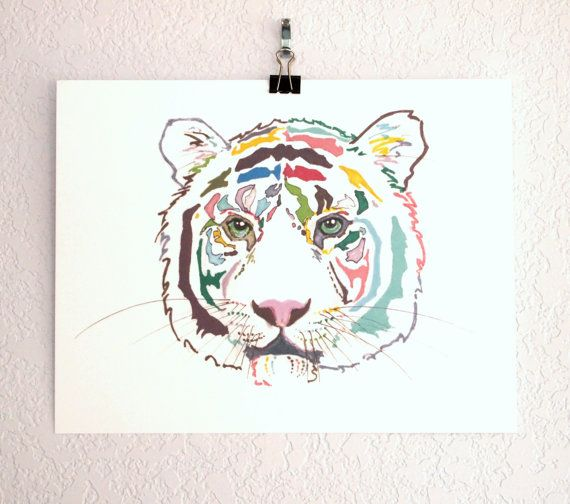 Original Illustration Print - cat illustration, tiger drawing, unique drawing, line drawing, strong, manly art, tropical poster, lion. $20.00, via Etsy.