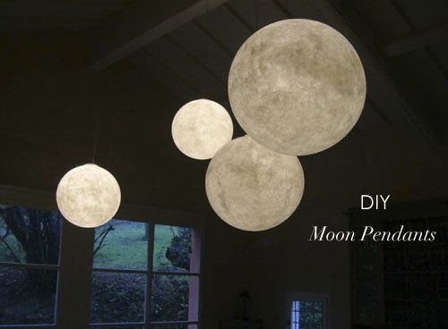 DIY Moon Pendants  You will need:  • Perfectly round balloons (from party stores)  • Papyrus Paper (light weight, under 110gsm)  • Craft Glue  Instructions  Step 1. First, blow the balloons to the sizes you...
