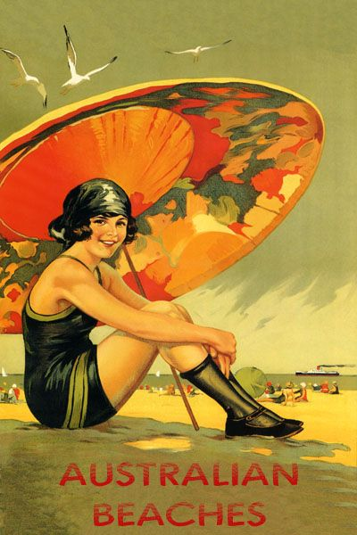 vintage travel posters | Details about AUSTRALIAN AUSTRALIA BEACHES TRAVEL VINTAGE REPR POSTER