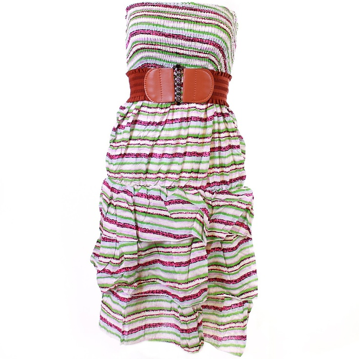 Monkeying About Ladies Bandeau Strapless Patterned Summer Dress with Belt £11.95
