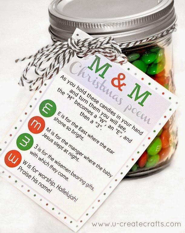 Sweet Printable M&M Christmas Poem