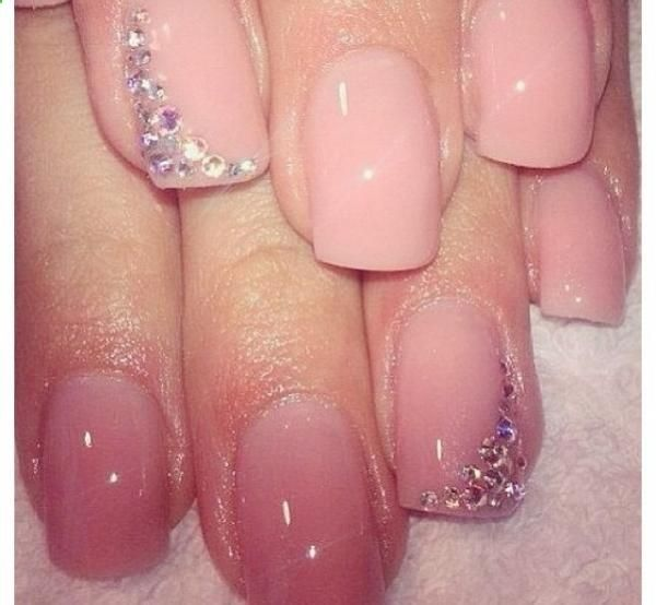 acrylic nails, light pink shellac with stones, design