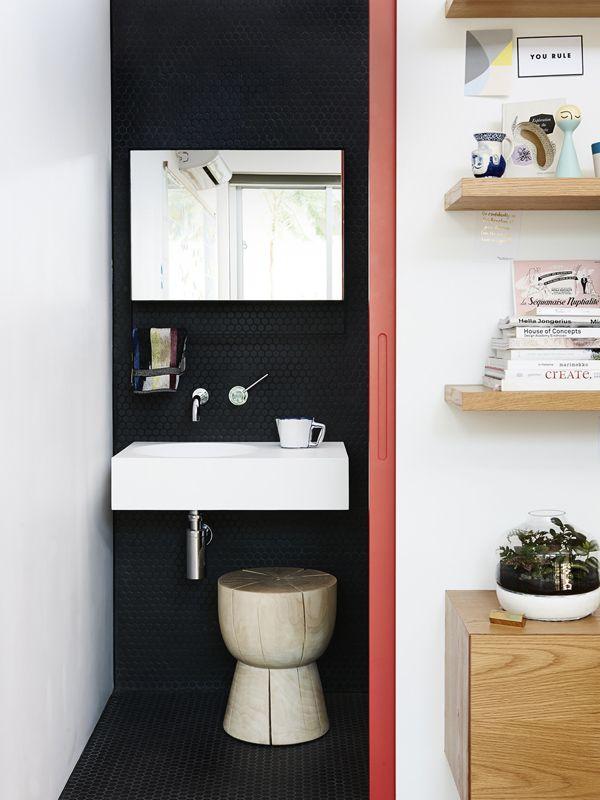 Studio bathroom. Custom mirror built by Gordon Johnson, egg cup stool by Mark Tuckey and terrarium by Miniscapes. Photo – Eve Wilson, styli...