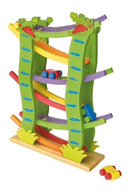 Dřevěné hračky - Dřevěná závodní dráha velká 4 autíčka, Autodráha