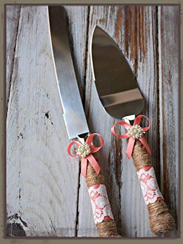 Rustic Country Wedding Burlap Twine Knife and Cake Server Set (Coral)