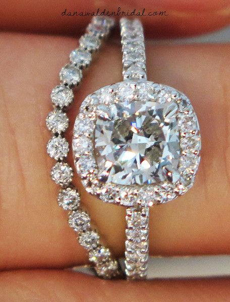 Our 'Clara' cushion cut diamond engagement ring paired with our 'Renata' wedding band. {By Dana Walden Bridal, NYC}