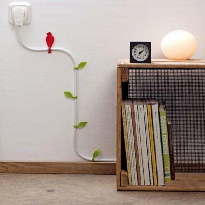 Deko Ideen Kreativ Kabel An Der Wand Verstecken Blätter