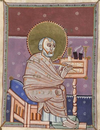 European Scribe – Cropped Image from Harley MS. 11th Century Manuscript Gospels 'Cologne Gospels', Courtesy: British Library