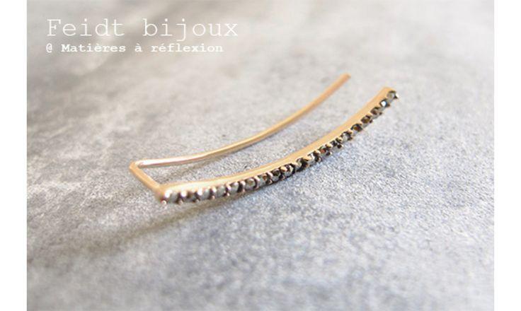 Feidt bijou d'oreille marcassite or 9k #feidt #earring #gold #9k #or