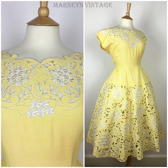Vintage 1940s Dress  40s Yellow Floral Cut Work Lace