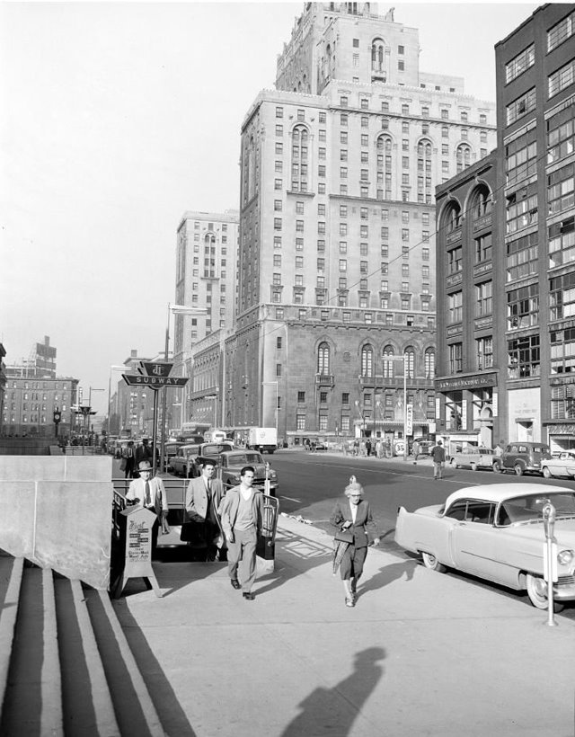Entrance to Union Station, Royal York Hotel in background (1954).