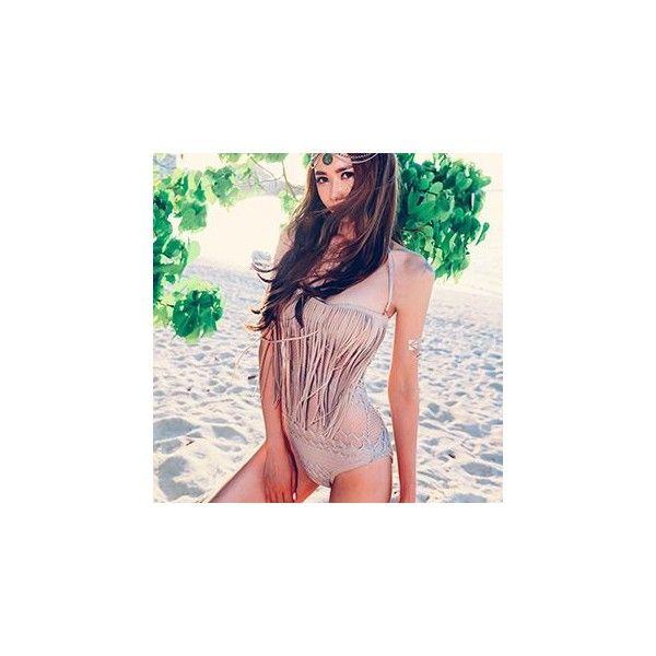 Fringed Swimsuit ($24) ❤ liked on Polyvore featuring swimwear, women, swimming costume, fringe swimsuit, fringe bathing suit, swimsuit swimwear and swim costume