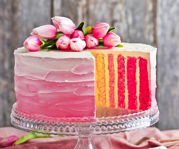 Rose pink vertical stripe cake recipe | Food To Love