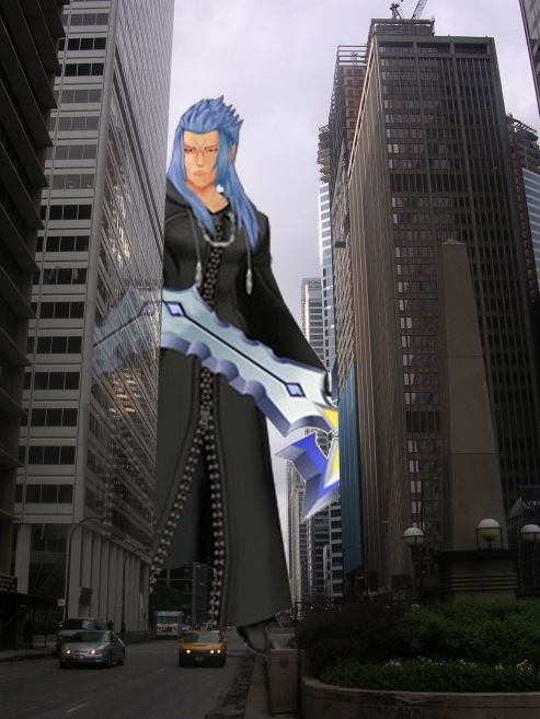 The original concept for Greater Perspective, inspired by my Kingdom Hearts fanfiction, featuring my own photograph in Chicago, IL and the character Saix from Kingdom Hearts 2 (c) Disney/Square Enix.