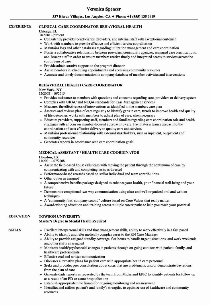 Patient Care Coordinator Job Description Resume New Health