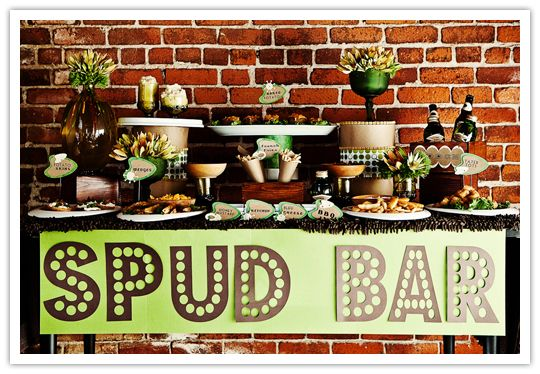 """DIY food bars where guests can create their own appetizers are instant fun. This is the most unique one I've seen so far - a """"spud bar"""" with tater tots, fries with dipping sauces and more."""