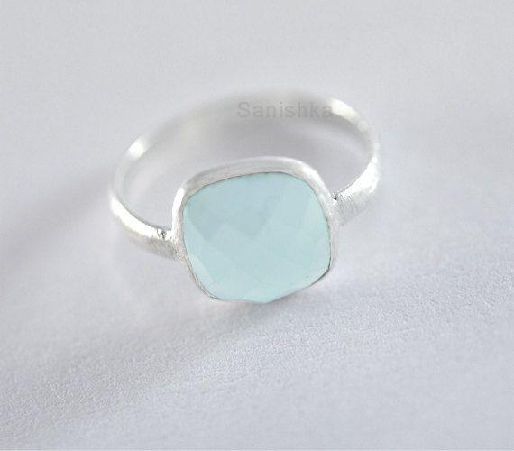 Silver Bezel Ring  Aqua Chalcedony Stone Sterling by Sanishka, $27.00