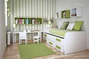 fun striped wall in apple green for kid room~
