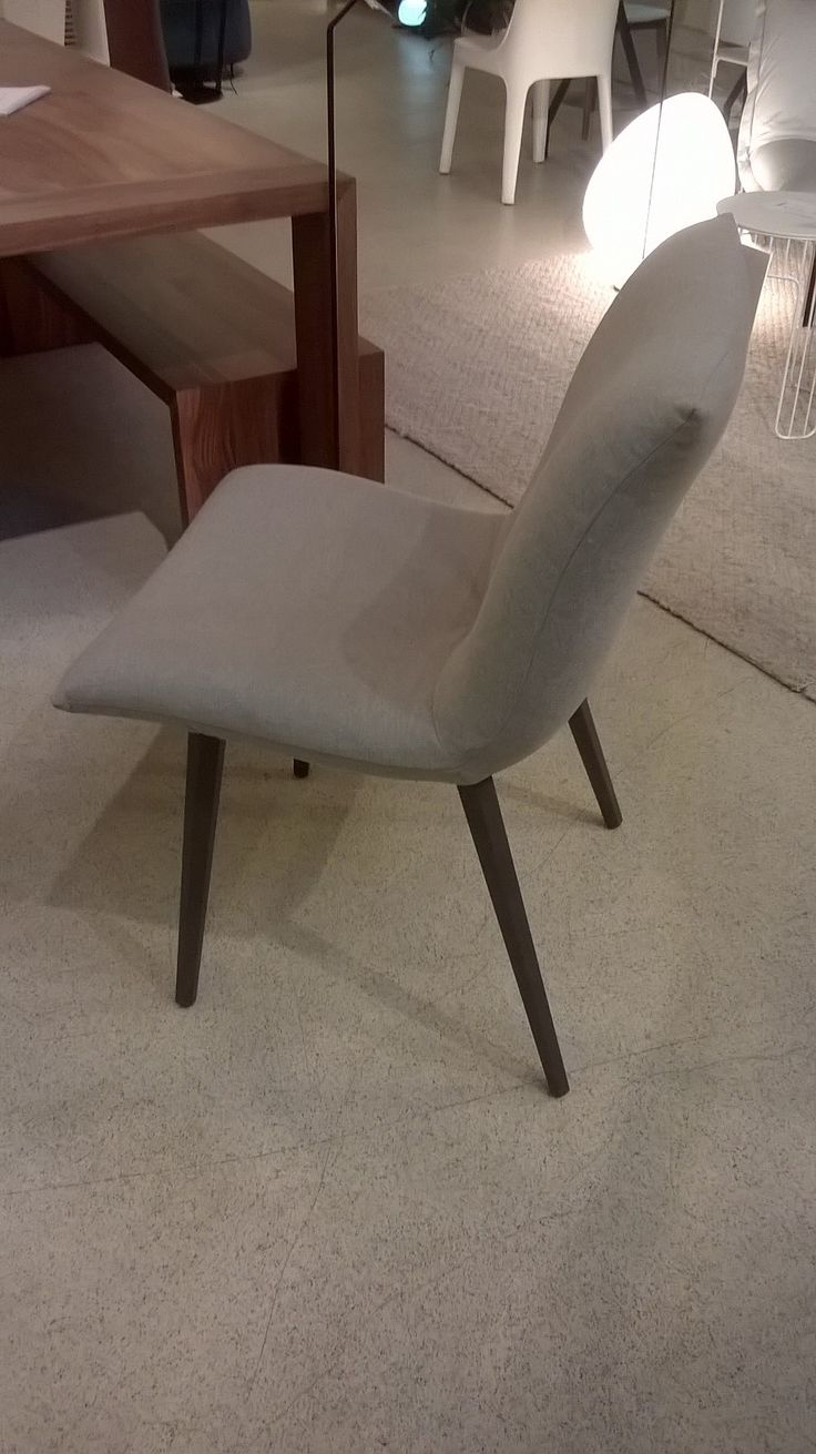 Single Calin dining or desk chair in Oda fabric Argent/Grey legs.WAS £516, NOW £305. Ex Display, Sold as Seen
