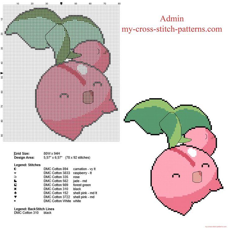 Pokemon fourth generation number 420 Cherubi free cross stitch pattern