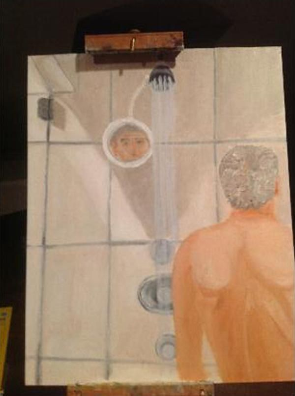 """Well, this is awkward: """"George W. Bush's Painting of Himself Taking a Shower"""" from @New York Magazine"""