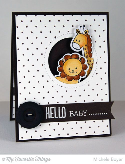 Wild Things stamp set and Die-namics, Beautiful Baby, Photo Booth, Swiss Dots Background, Fishtail Flags STAX Die-namics, Peek-a-Boo Circle Windows Die-namics - Michele Boyer #mftstamps