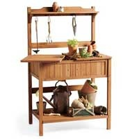 Traditional potting bench by Smith & Hawken